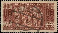"POLOGNE / POLAND - 1933 - "" PRZASNYSZ "" date stamp on Mi.282 80gr. Red-Brown"