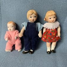 "Doll house dolls porcelain Bisque wire joints children 3"" boy girl baby"