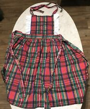 Vintage pinafore bib apron red plaid ruffle trim Lady made in USA