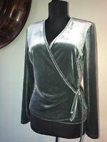 Madewell Sz Small Velvet Wrap Top V-Neck Long Sleeve Stretch Green Ballet NWT