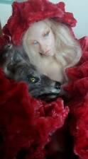 ooak fairy art doll + wolf red riding hood polymer clay prototype  figurine