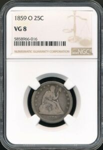 1859-O Seated Liberty Quarter NGC VG 8 *Low Mintage Of Just 260,000!*