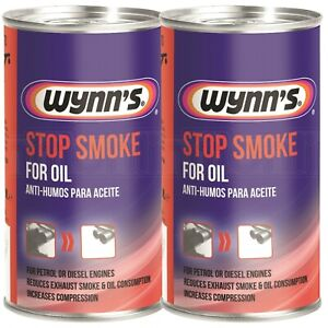 2 x Wynns Stop Smoke Oil Additive Petrol & Diesel Engines Reduce Smoke 325ml