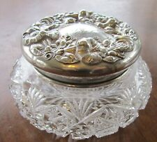 Powder Jar Huge Floral Sterling Silver Art Nouveau American Brilliant Crystal