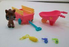 Littlest Pet Shop Horse, Wagon, and Wheel Barrow