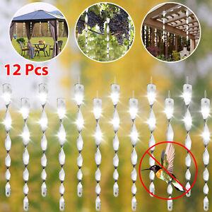 12PCS Bird Scare Rods Hanging Reflective Pest Repellent Deterrent Garden Yard US