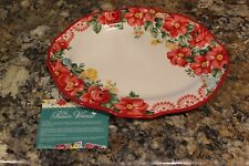 "PIONEER WOMAN - 14"" VINTAGE FLORAL PLATTER - RED - NEW IN BOX"