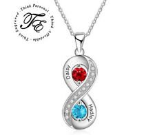 Personalized Mother's Infinity Necklace 2 Stone 2 Name