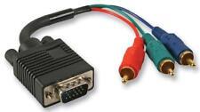 15 Pin VGA (D Sub) Male to 3x Phono (RCA) Male Lead, 2m Black