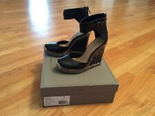 NEW IN BOX BCBG Max Azria MA-FRAME Black Leather Wedge Shoes Size 9.5 - NEW $325