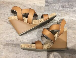 Dune Brown Leather and Cork Wedges Size 38/5