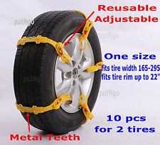 Reusable & Adjustable Plastic snow tire chain/strap for CAR/SUV/VAN & MORE 10PCS