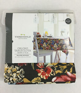 """Threshold Wild Flowers Tablecloth 60x84"""" NWT Oblong Seats 6-8 Brown Blue Mustard"""