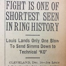 1936 HEADLINE newspaper BOXER JOE LOUIS Knocks Out EDDIE SIMMS One Punch Fight