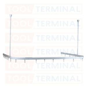 MODULAR DURABLE ALUMINIUM WHITE SHOWER U CURTAIN TRACK RAIL RAILS EASY INSTALL