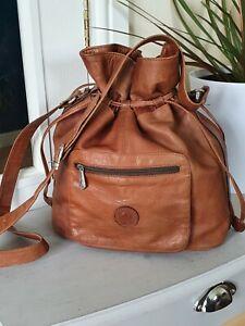 Vintage Deriko Tan Leather Bucket Drawstring Shoulder Messenger CrossBody Bag