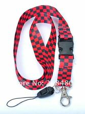 Red & black check pattern cordon Keychain document titulaire-NEUF