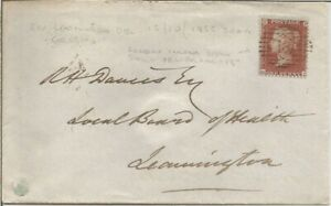 GB QV 1855 COVER PENNY RED STAR 'GL' TO LEAMINGTON FROM LONDON PMK! 18 IN DIAMON