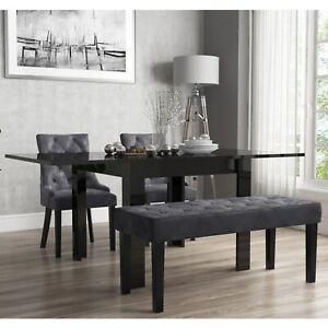 Flip Top Dining Table in Black High Gloss with 2 Grey Velvet C BUN/VIV004A/70700