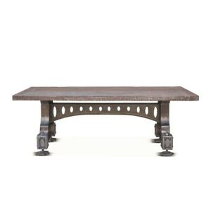 """53"""" W Coffee Table Detailed Industrial iron base distressed solid Wood Rustic"""
