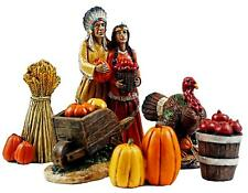 6 PC HAND PAINTED RESIN NATIVE AMERICAN FIGURINE SET THANKSGIVING TABLETOP DECOR