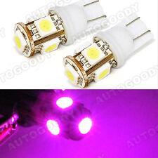Hot Pink LED Bulbs 5-SMD T10 Side / Under Door Courtesy Lights