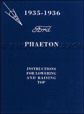 1935-1936 Ford Phaeton Convertible Top Owners Manual with Envelope Deluxe Owners