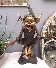 Bronze Goblin Garden Elf Pixi Goblin Hands out Wonderful Bronze Goblin Seated