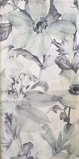 ENVOGUE Watercolor Large Floral Shower Curtain-Pale Aqua,Pale Gray 100% Cotton