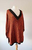 Vintage 70s Adict Orange Leopard Animal Print Jumper V Neck Oversized Long Retro