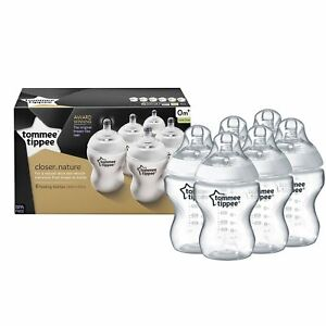 Tommee Tippee Baby Feeding Bottles Closer to Nature 260ml/9oz Bottles x 6