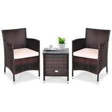 Outdoor 3 Pieces Rattan Wicker Furniture Set Coffee Table 2 Chairs Garden Beige