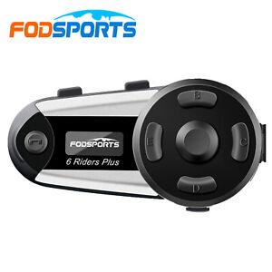 V6 Plus FODSPORTS Motorcycle Bluetooth Helmet Intercom Headset 6 Rider 1200M FM