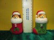 Pfaltzgraff Hand-Painted Sculpted Christmas Puppies Salt & Pepper Shaker Set