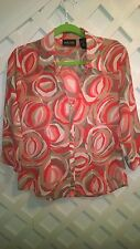 NEW YORK & CO ORANGE TAN SWIRL PRINT CREAM PUFF 3/4 SLEEVE BLOUSE M