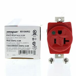 Cooper Red Hospital Straight Blade Single Outlet 5-20R 20A Short Strap 8310MRD