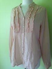 Laura Ashley Nude Peach Pink Silk Collarless Victorain Steampunk Shirt M