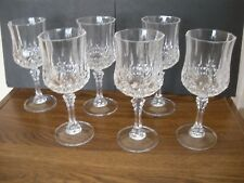 "BOX SET OF 6 CRISTAL D'ARQUES 24% LEAD CRYSTAL GOBLET WINE GLASS 7 1/4"" 7.5 oz"