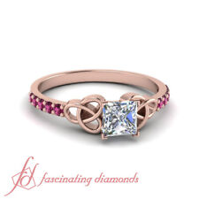 Princess Cut Diamond And Pink Sapphire Gemstone Celtic Engagement Ring 0.85 Ctw