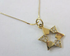 "14KT Yellow Gold Star of David Pave Set Diamonds 14"" 14KT Chain -- Ships Free *"