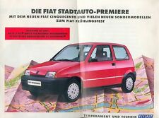 FIAT cinquecento città auto Premiere PROSPEKT 3/93 SALES BROCHURE 1993 AUTO AUTOMOBILI