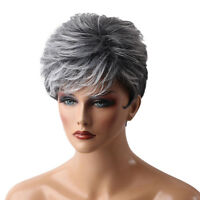 Grey Short Hair Wig Heat Resistant Synthetic Hair Fashion Wig with Wig Cap
