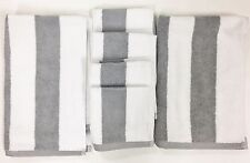 NEW 6 PC SET TOMMY HILFIGER WHITE+GRAY STRIPE 100% COTTON 2 HAND TOWEL+4 CLOTH
