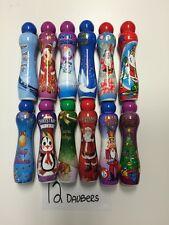 (12) NEW 3 OZ DAB-O-INK VARIETY PK CHRISTMAS BINGO DAUBERS-RED/BLUE/GREEN/PURPLE