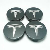 4pcs 56mm Car Wheel Center Cap Rim Hubcaps Emblem Dark Grey for Tesla Model 3 SX