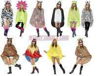 Unisex Animal Print Adult Ponchos Showerproof Festival Fancy Dress Party Costume