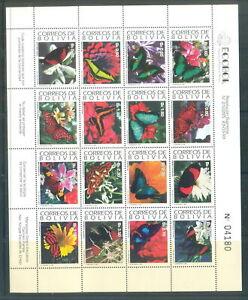 Bolivia 1993 Butterflies, Mi #1193-1208MS CV=EUR85 MNH