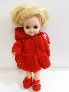 """Palitoy 15"""" Blonde Sheena hair grow doll 1970s vintage red hand knitted outfit"""