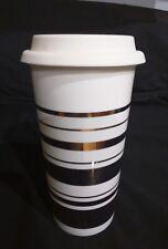 NEW BLING Ivory White 16 oz Tumbler Porcelain travel mug gold stripes with lid