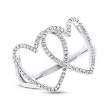 Hearts Diamond Statement Right Hand Ring Womens 0.21Ct 14K White Gold 2 Double